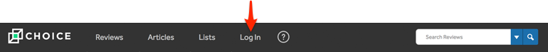 menu bar location for create account link